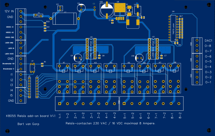 PCB layout voor Ralay board